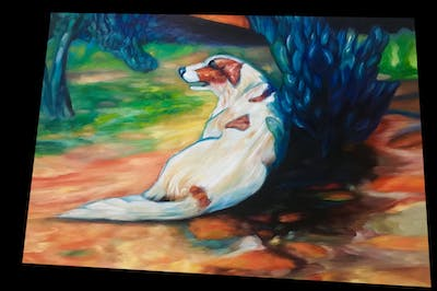 A painting of painting, dog, dog like mammal, art, watercolor paint, paint, modern art, carnivoran, acrylic paint, artwork