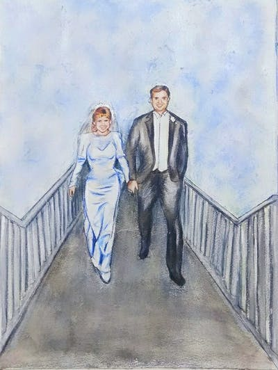 A painting of suit, photograph, dress, formal wear, gown, lady, bridal clothing, wedding, wedding dress, ceremony