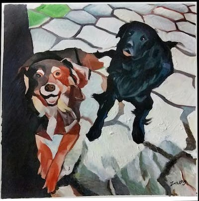 A painting of dog, dog breed, dog like mammal, boykin spaniel, dog breed group, snout, dog crossbreeds, spaniel, sporting group