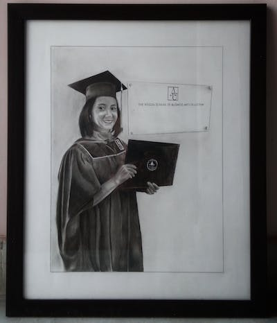 A painting of blue, graduation, academic dress, academician, scholar, mortarboard, phd, diploma, event