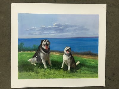 A painting of dog breed, siberian husky, dog, dog like mammal, alaskan malamute, sled dog, dog breed group, sakhalin husky, northern inuit dog