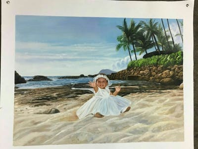 A painting of photograph, body of water, bride, gown, sea, wedding dress, dress, vacation, bridal clothing, beach