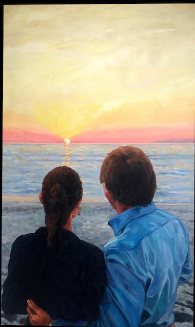 A painting of sea, body of water, person, sky, water, fun, romance, emotion, horizon, male