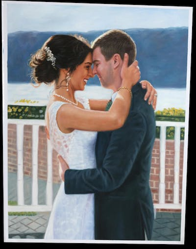 A painting of photograph, bride, gown, wedding, bridal clothing, wedding dress, ceremony, groom, romance, dress