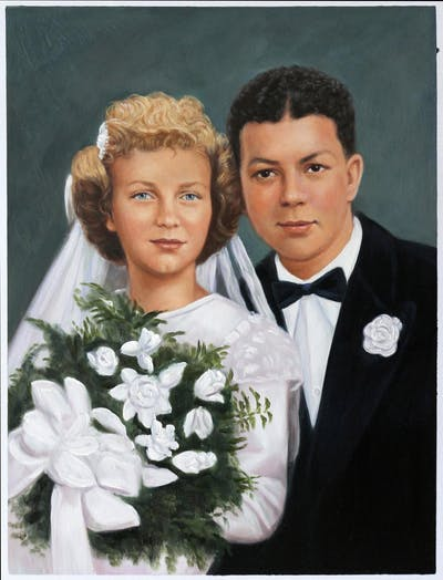 A painting of bridal clothing, wedding dress, marriage, formal wear, suit, gown, lady, bride, hairstyle, wedding