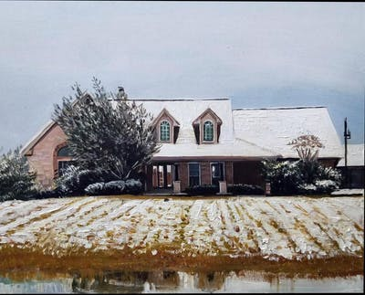 A painting of snow, property, house, winter, home, architecture, residential area, window, building, sky