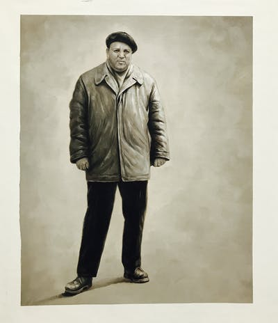 A painting of photograph, standing, man, male, gentleman, vintage clothing, human behavior, outerwear, headgear, suit