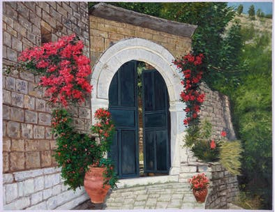 A painting of wall, arch, building, historic site, facade, ruins, history, window, ancient history, medieval architecture