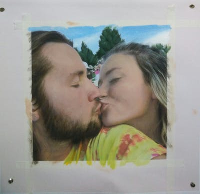 A painting of face, nose, kiss, cheek, fun, emotion, interaction, girl, love, mouth