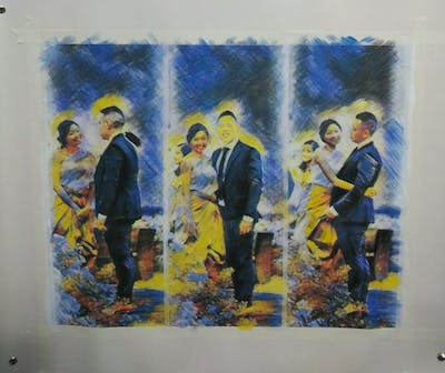 A painting of photograph, wedding, bride, gown, ceremony, event, groom, groom, suit