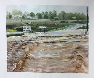 A painting of water resources, floodplain, geological phenomenon, natural disaster, road, disaster, water, flood, bank, river