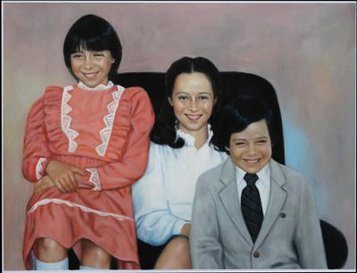 A painting of people, snapshot, smile, family, standing, girl, fun, product, friendship, vintage clothing