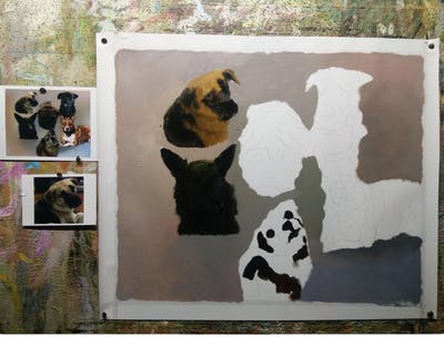 A painting of dog, dog breed, dog like mammal, dog breed group, snout, carnivoran, dog crossbreeds, pomeranian, companion dog, tibetan spaniel