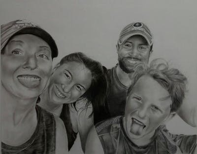 A painting of people, social group, face, facial expression, person, fun, smile, emotion, friendship, youth