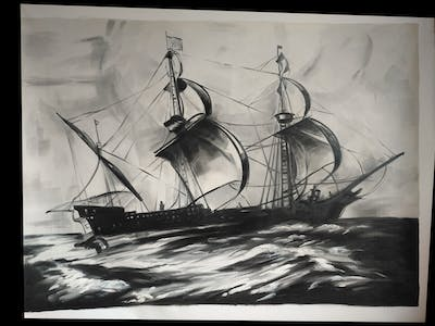 A painting of sailing ship, caravel, black and white, galleon, fluyt, brigantine, east indiaman, ship, galiot, art