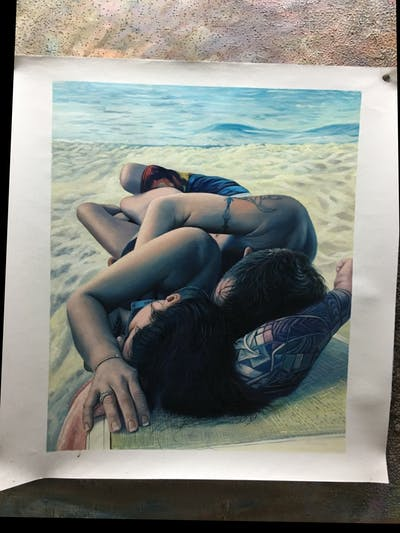 A painting of sun tanning, beauty, leg, vacation, fun, summer, girl, sea, black hair, swimwear