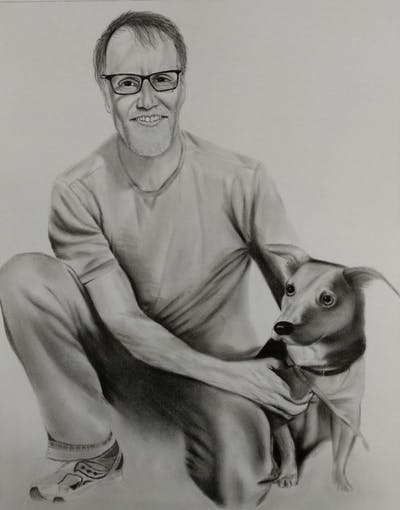 A painting of dog, dog breed, dog like mammal, snout, grass, dog walking, tree, hunting dog