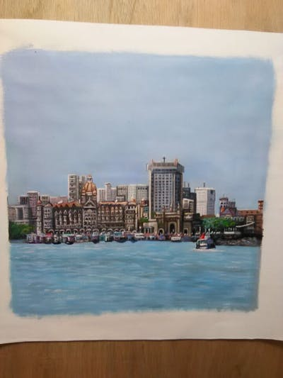 A painting of metropolitan area, skyline, city, waterway, skyscraper, urban area, daytime, water transportation, tower block, sky