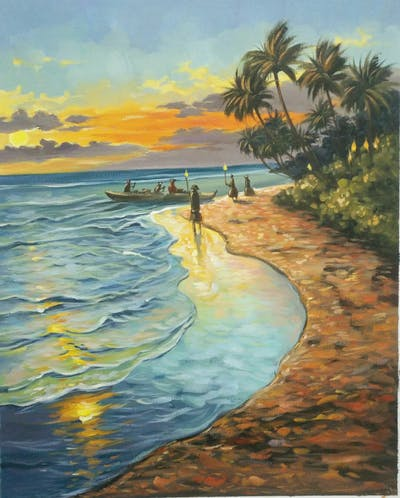 A painting of shore, painting, sea, sky, tropics, coast, ocean, caribbean, sunset, horizon