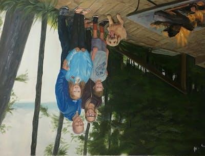 A painting of people, mammal, vertebrate, tree, backyard, recreation, plant, fun, vacation, family