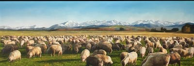 A painting of herd, grassland, sheep, sheep, pasture, grazing, sky, livestock, tundra, ecoregion