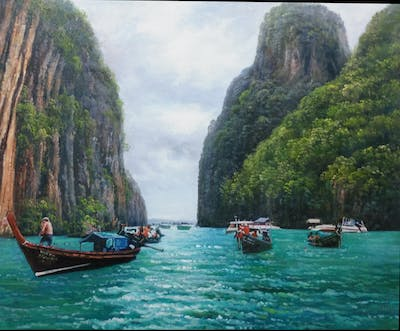 A painting of waterway, water transportation, coastal and oceanic landforms, nature reserve, tourism, bay, leisure, lagoon, water resources, river