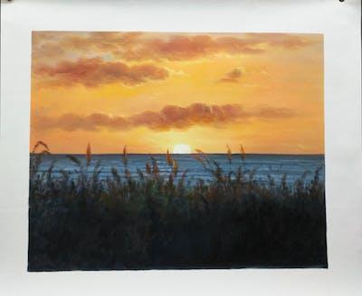 A painting of sky, horizon, sunset, afterglow, sunrise, sun, sea, calm, evening, morning