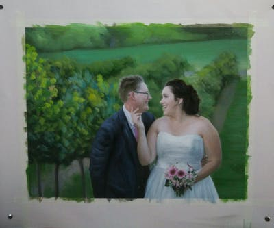 A painting of photograph, bride, flower, wedding, ceremony, groom, flower arranging, wedding dress, groom, bridal clothing