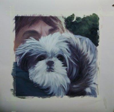 A painting of dog like mammal, dog breed, dog, vertebrate, shih tzu, snout, fur, schnoodle, carnivoran, affenpinscher