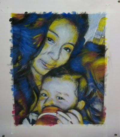 A painting of face, skin, person, eyebrow, nose, girl, head, cheek, child, forehead