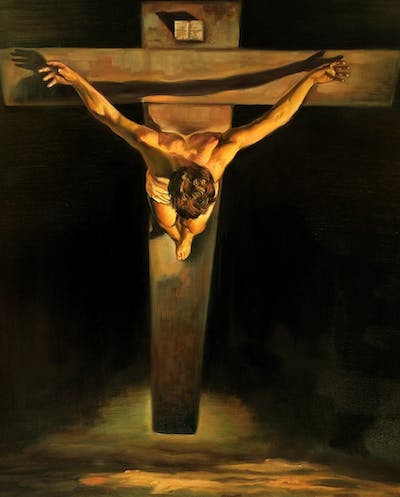A painting of religious item, crucifix, cross, art, artifact, darkness, symbol, visual arts, still life photography