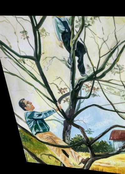 A painting of tree, plant, branch, woody plant