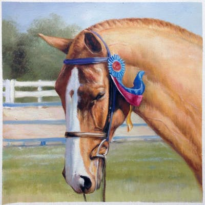 A painting of horse, bridle, rein, horse tack, halter, equestrian, equestrianism, horse like mammal, hunt seat, horse supplies
