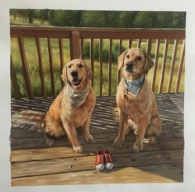 A painting of dog, dog breed, dog like mammal, snout, dog crossbreeds, golden retriever, broholmer, retriever, dog breed group, sporting group