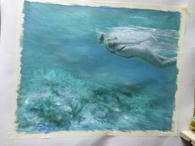 A painting of water, sea, underwater, swimming, snorkeling, marine biology, ocean, reef, vacation, coastal and oceanic landforms