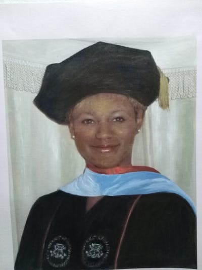 A painting of academic dress, graduation, scholar, academician, mortarboard, phd, headgear, outerwear, event, international student