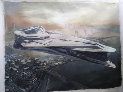 A painting of yacht, passenger ship, luxury yacht, watercraft, naval architecture, computer wallpaper, sky, plant community, screenshot