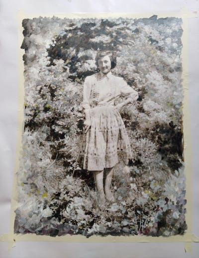 A painting of photograph, vintage clothing, black and white, stock photography