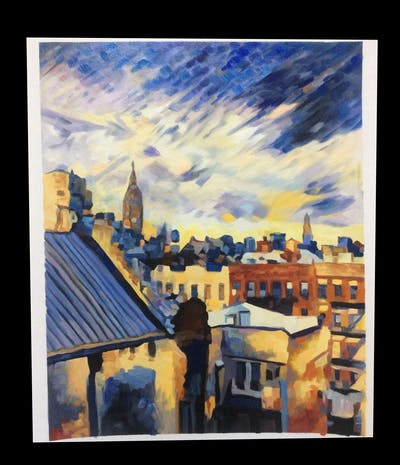 A painting of sky, city, urban area, skyline, property, roof, town, neighbourhood, cityscape, building