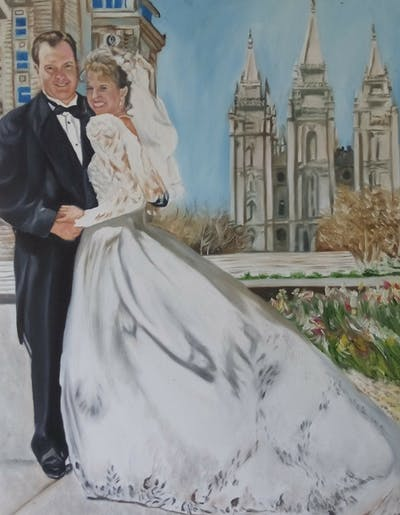 A painting of gown, wedding dress, photograph, bridal clothing, bride, dress, marriage, wedding, veil, ceremony