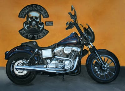 A painting of motorcycle, motor vehicle, vehicle, cruiser, chopper, automotive design, wheel