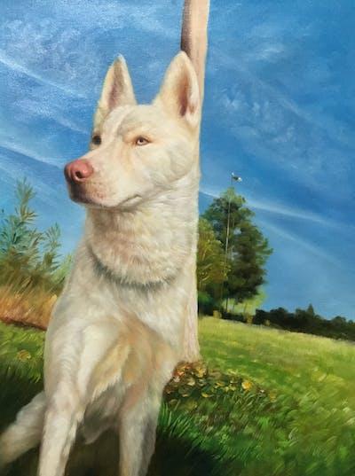 A painting of dog like mammal, dog, dog breed, siberian husky, dog breed group, saarloos wolfdog, sakhalin husky, tamaskan dog, canaan dog, pungsan dog