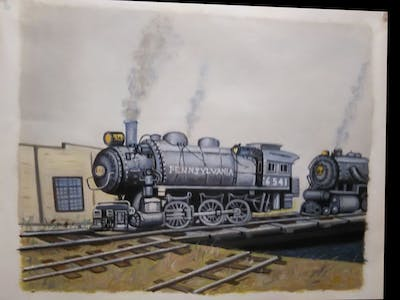 A painting of locomotive, transport, steam engine, rail transport, vehicle, scale model, iron, train, track, engine