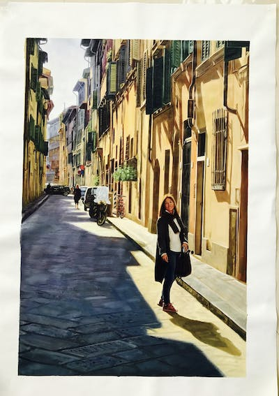 A painting of road, town, street, alley, infrastructure, neighbourhood, lane, urban area, city, sky
