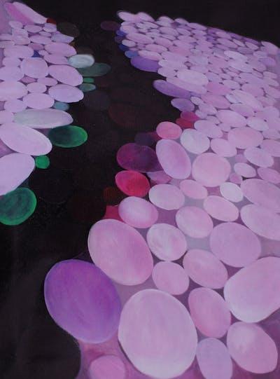 A painting of purple, violet, light, lilac, petal, circle, product design, magenta, computer wallpaper