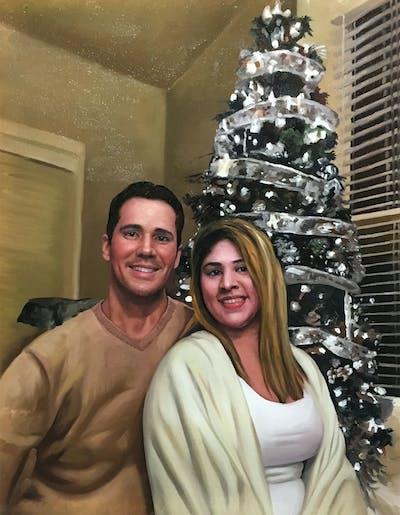 A painting of event, christmas, christmas decoration, christmas tree, decor, tree, holiday
