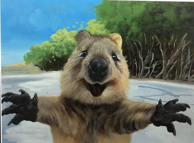 A painting of mammal, marmot, fauna, terrestrial animal, rodent, beaver, snout, squirrel
