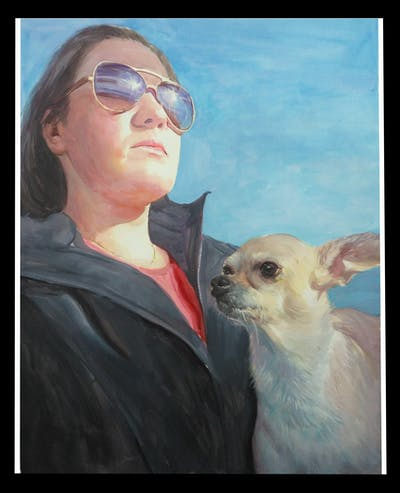 A painting of dog, mammal, dog like mammal, nose, eyewear, dog breed, sunglasses, snout, glasses, ear