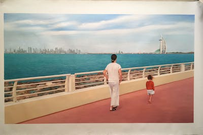 A painting of sea, water, vacation, ferry, pier, recreation, passenger ship, ship, vehicle, horizon