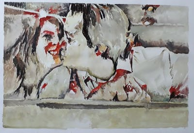 A painting of red, love, emotion, kiss, romance, interaction, fun, mouth, girl, lip